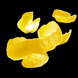 schwebende Zitronenschalen