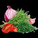 Rosmarin mit Zwiebel, Knoblauch und Paradeisern