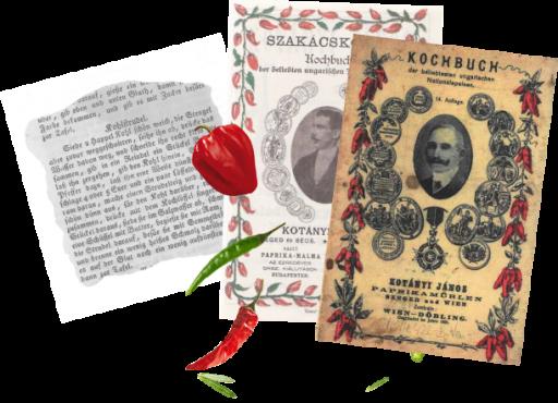 Уривок рецепта та дві обкладинки кулінарних книг Яноша Котані.