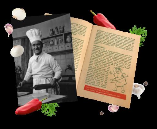 Телеведучий і шеф-кухар Франц Рум та фотографія його кулінарної книги Kotányi.