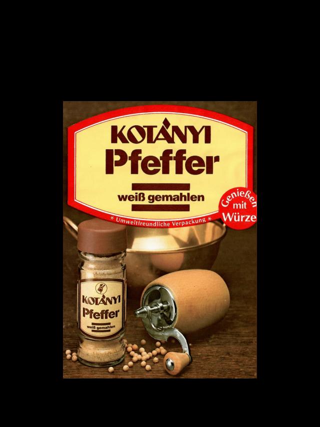Пакетик білого перцю Kotányi, 1980-ті рр.
