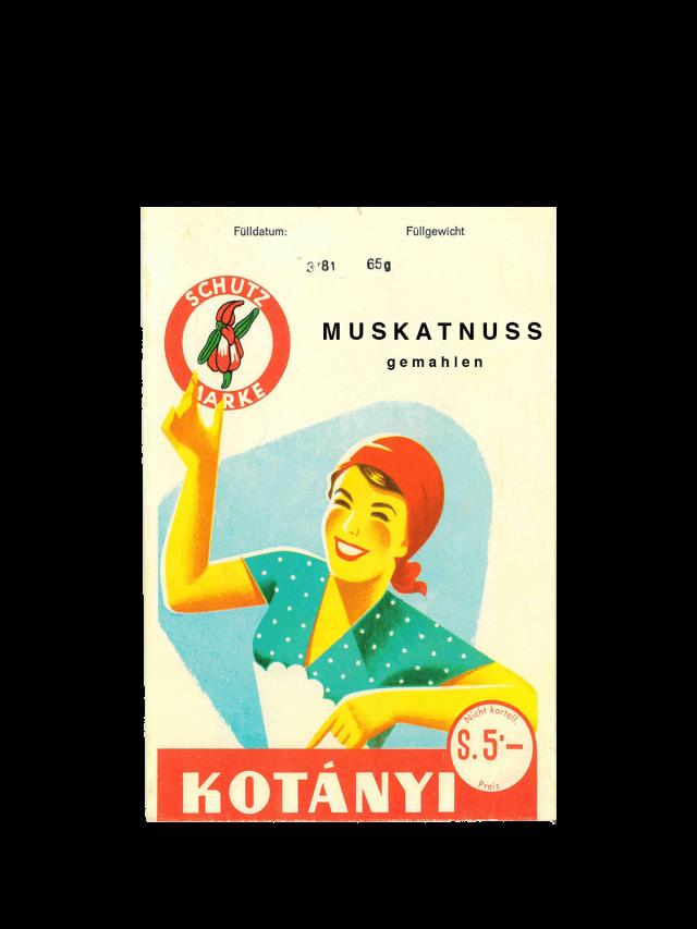 Пакетик мускатного горіха Kotányi, 1950-ті рр.